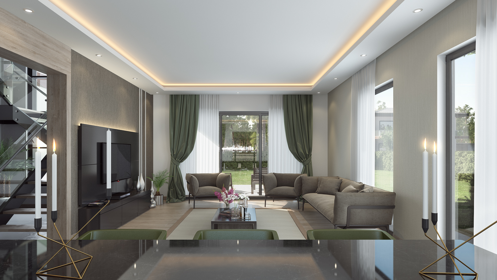 living room interior wide shot render