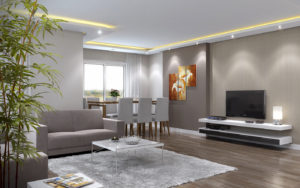 living room rendering wide angle