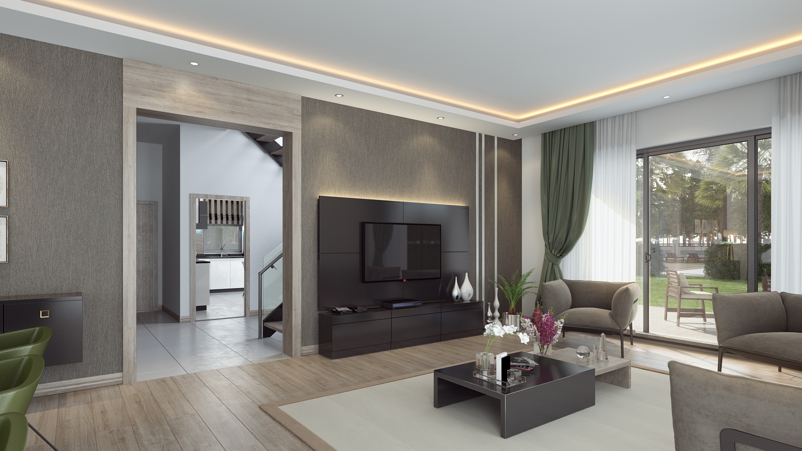 living room interior render from corner