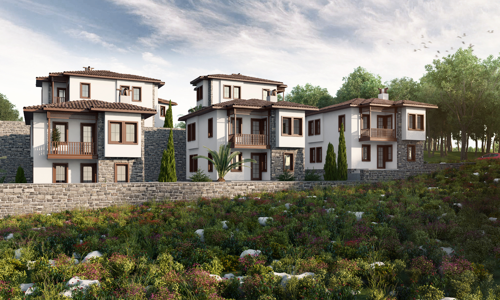 wide angle rendering of modern detached house subdivision