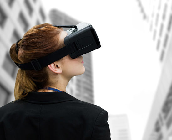 young woman wearing virtual reality headset among highrise buildings