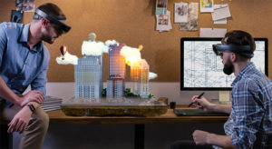 Urban Planners with hololens headset looking at virtual building