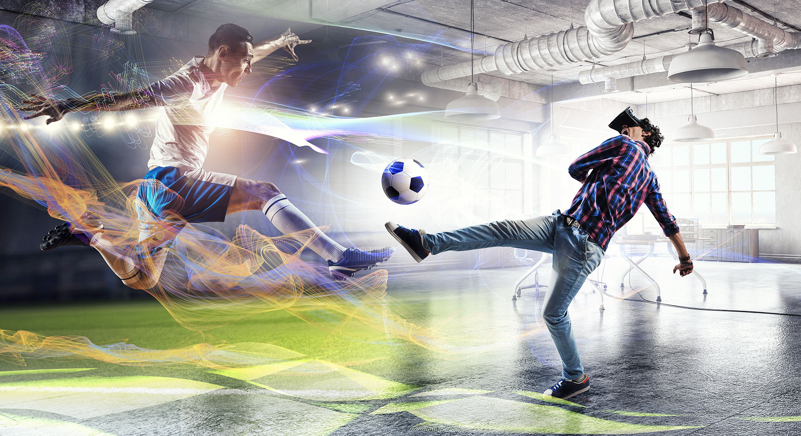 man immersed into VR Video by playing soccer with a player