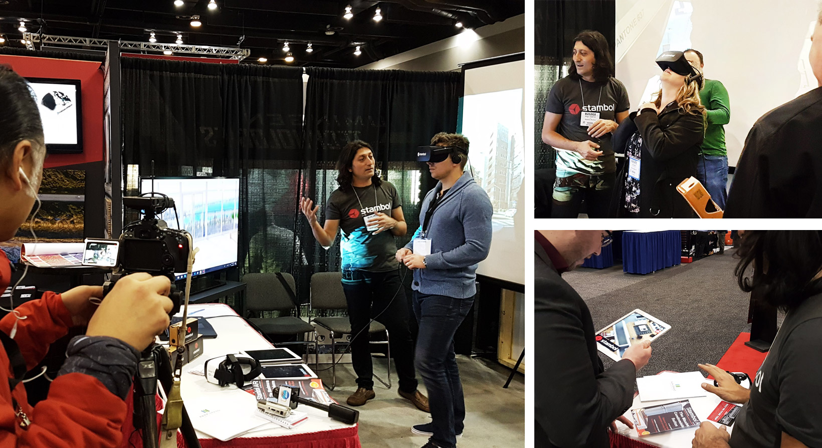 BuildEx Attendees at Stambol Studios Booth trying virtual and augmented reality experience