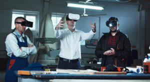 workers using virtual reality headsets on construction site
