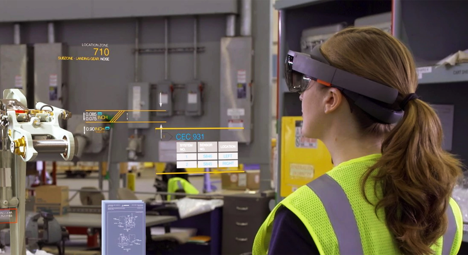 female employee wearing microsoft hololens in a warehouse