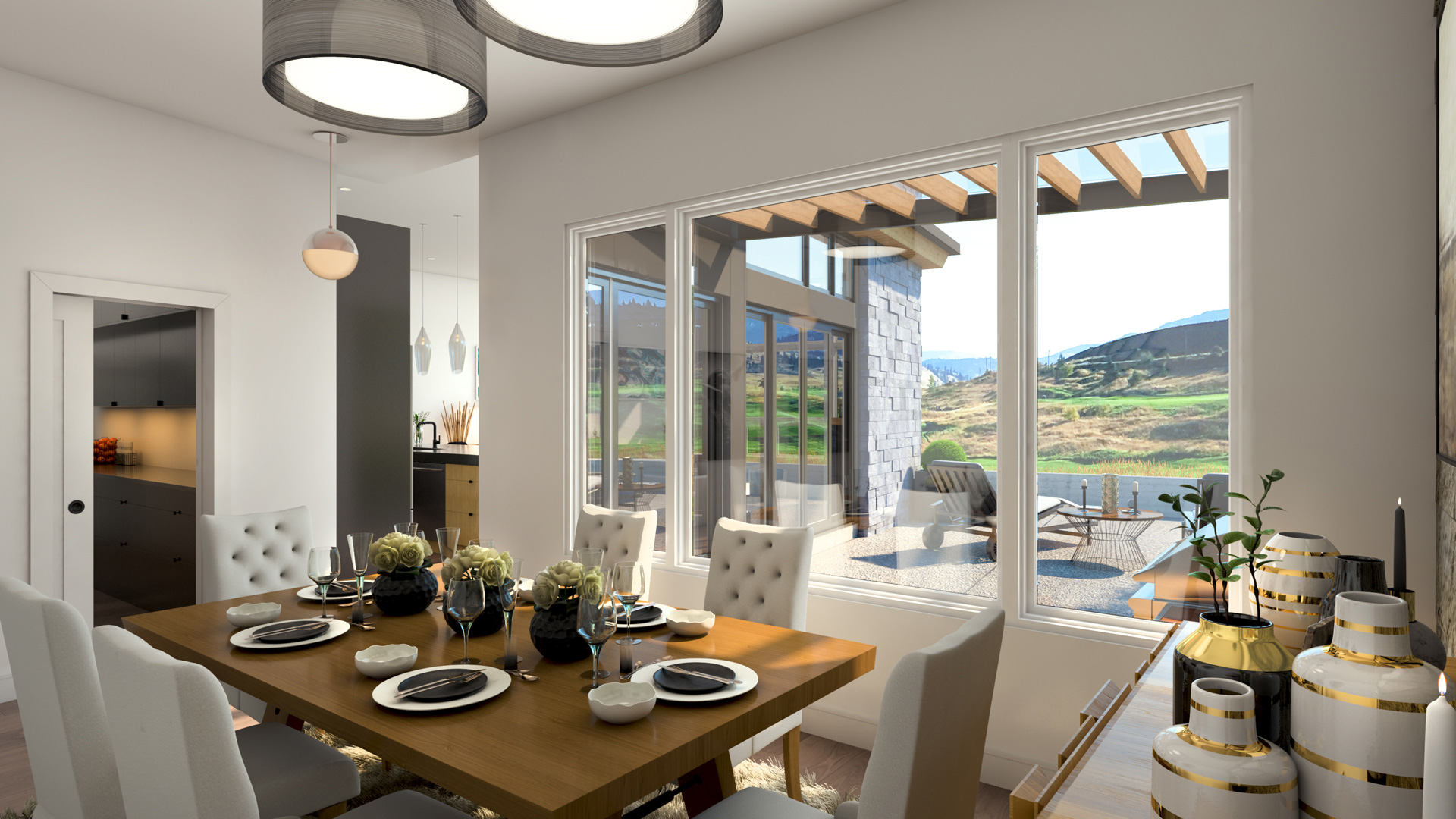 Predator Ridge Resorts Affinity Homes Foerster Theme 3D Interior Rendering - Dining Room