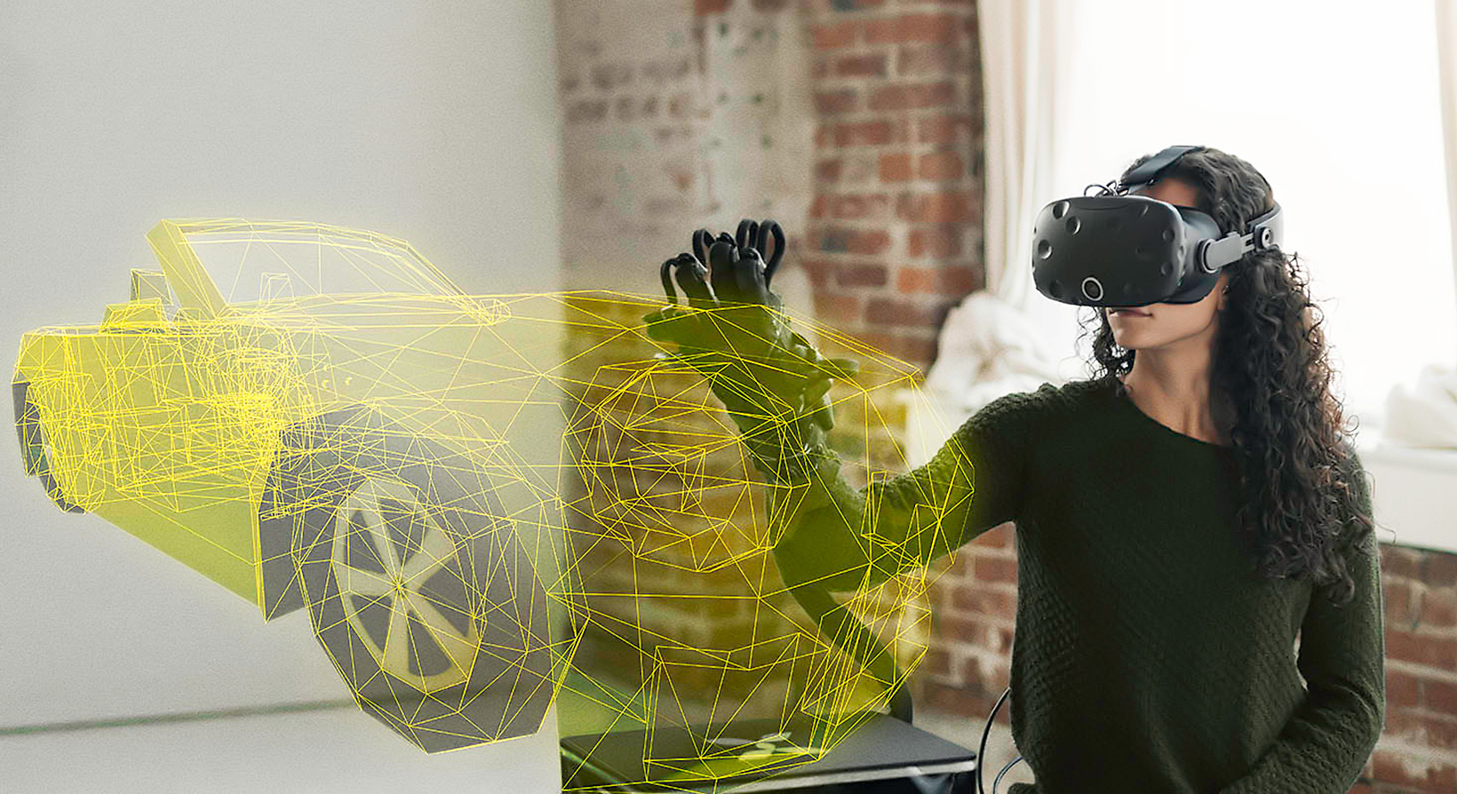 a female engineer is trying HaptX gloves and looking at virtual car design