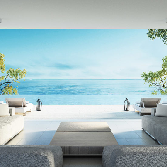 3D Rendering of a decorated interior with a beach view
