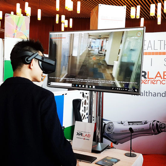 Stambol presenting Health and Technology District in VR at BC Tech Summit 2018