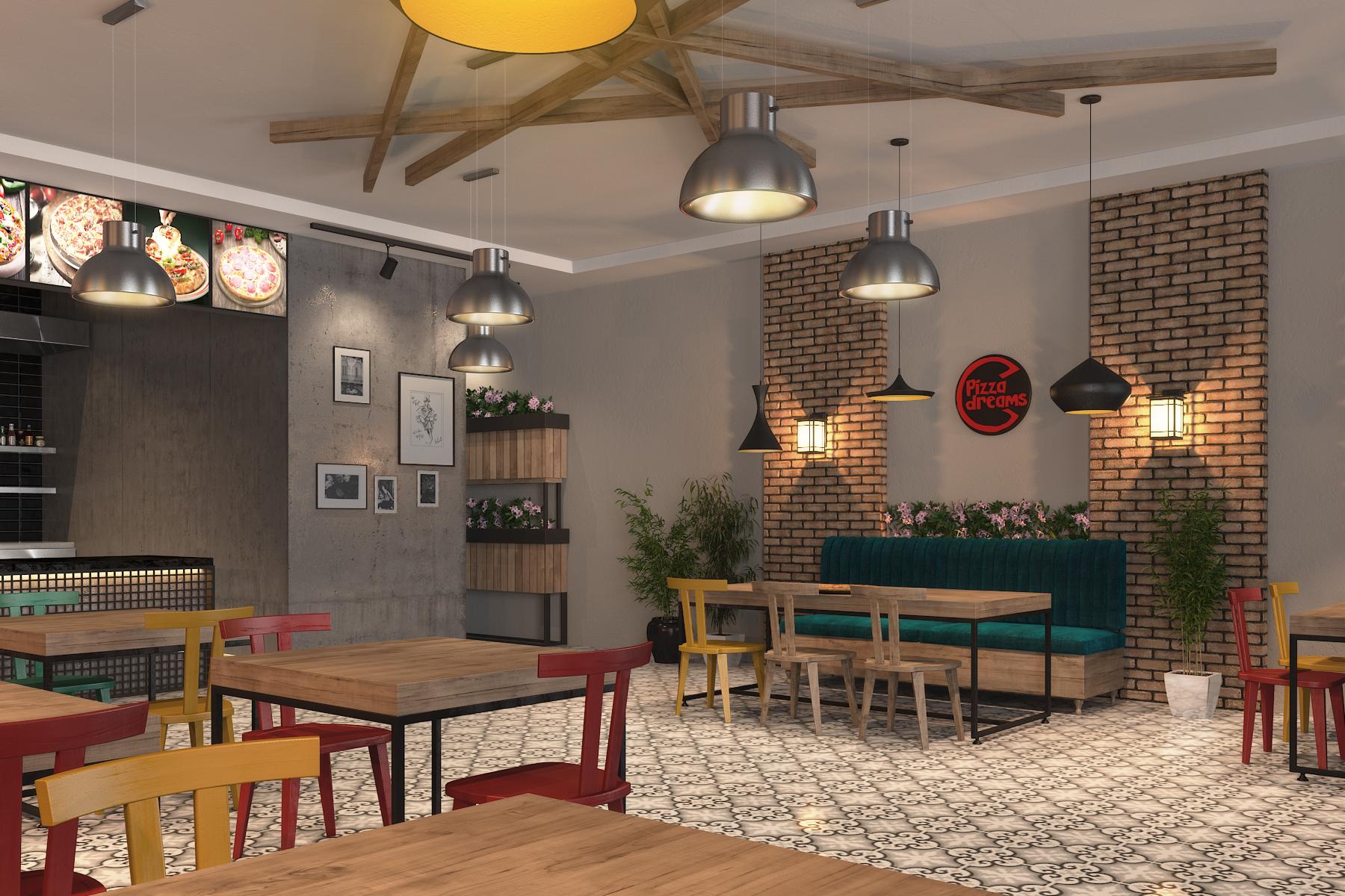 3D Render of Pizza Dreams Restaurant concept