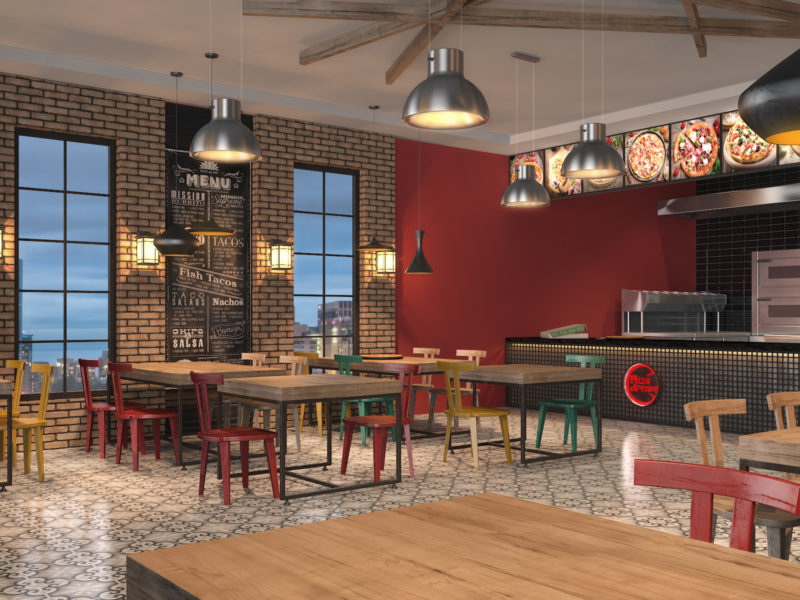 3D Render of Pizza Dreams Restaurant concept