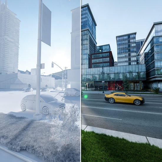 architectural visualization of a street view with before and after affect