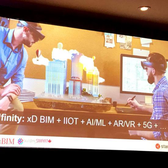 Powerpoint slide on BIMfinity, IOT, AI, AR, VR, 5G
