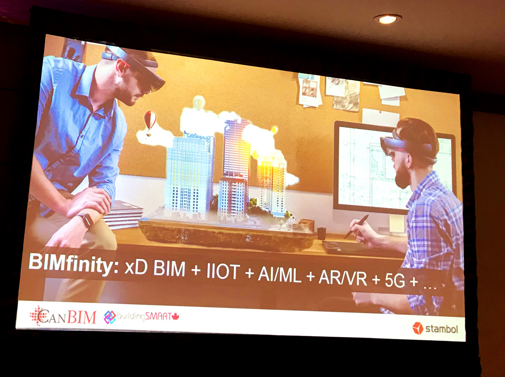 Powerpoint slide on BIMfinity, IOT, AI, AR, VR, 5G