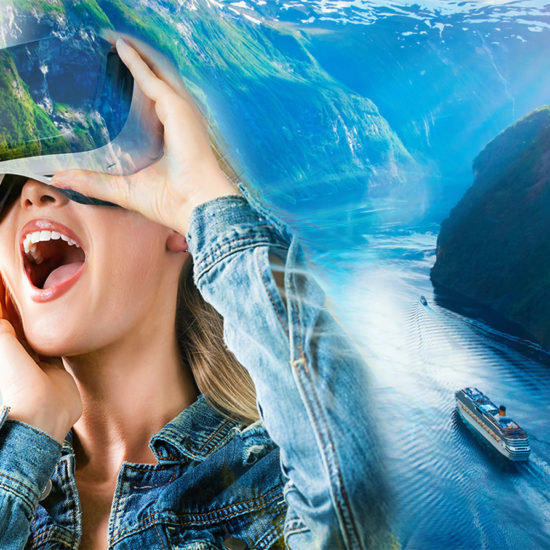 attractive female in VR headset and experiencing a cruise ship travel