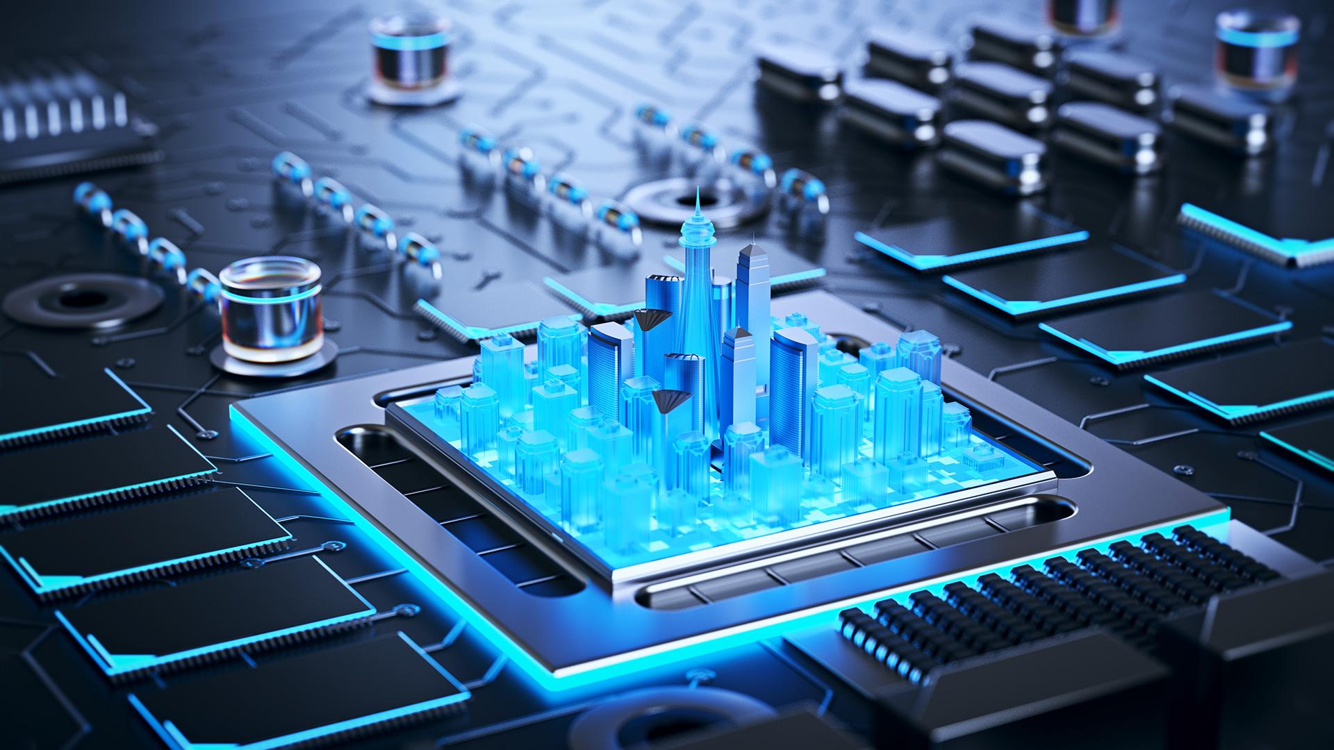 3d illustration of futuristic micro chip smart city concept