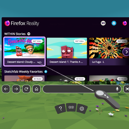 Firefox Reality Browser in VR Headset as an example of immersive browsing