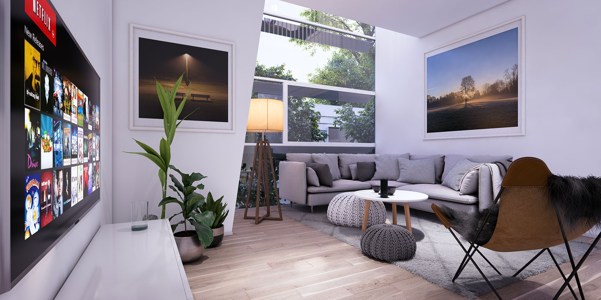 Turner's Dairy Townhouse Project - Unit 3 Living Room Render