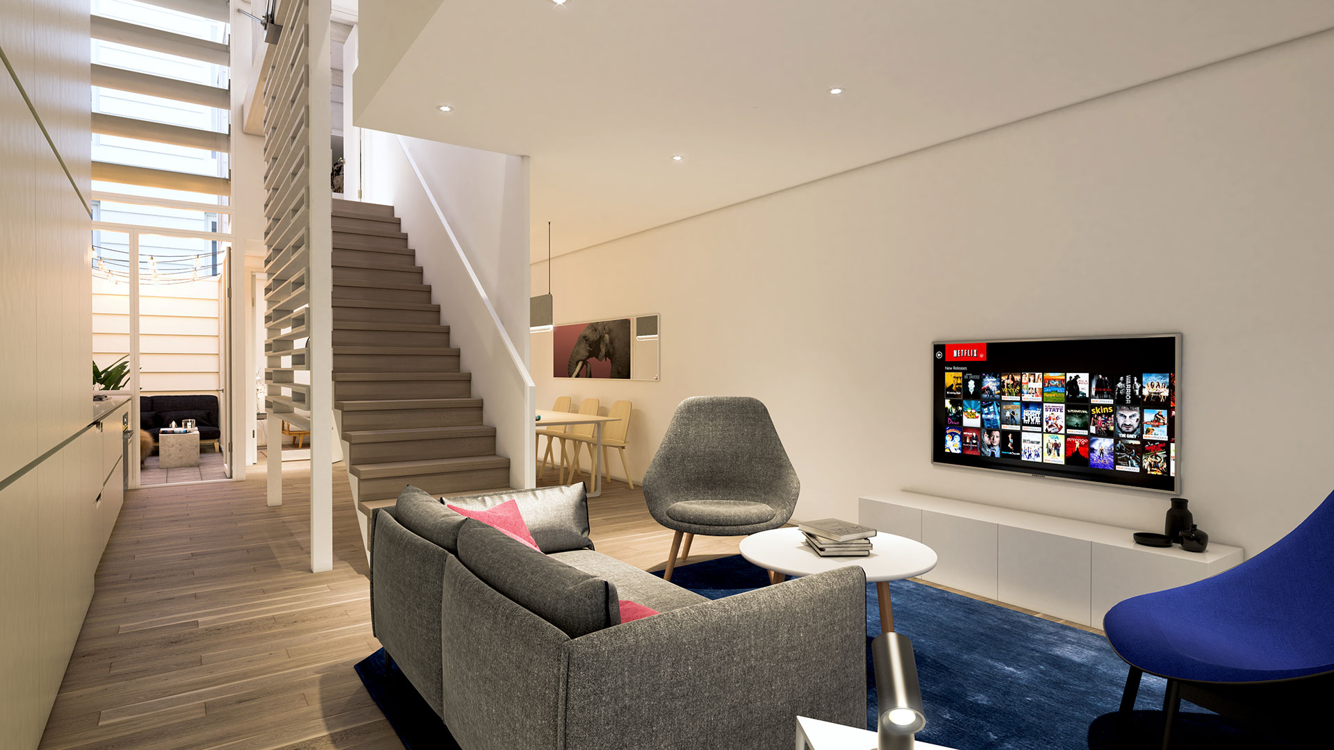 Turner's Dairy Townhouse Project - Unit 7 Living Room Render