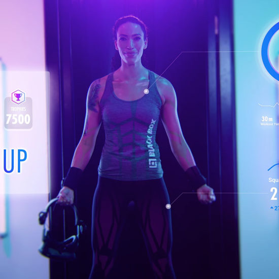 Female Model in Black Box VR Gym Commercial