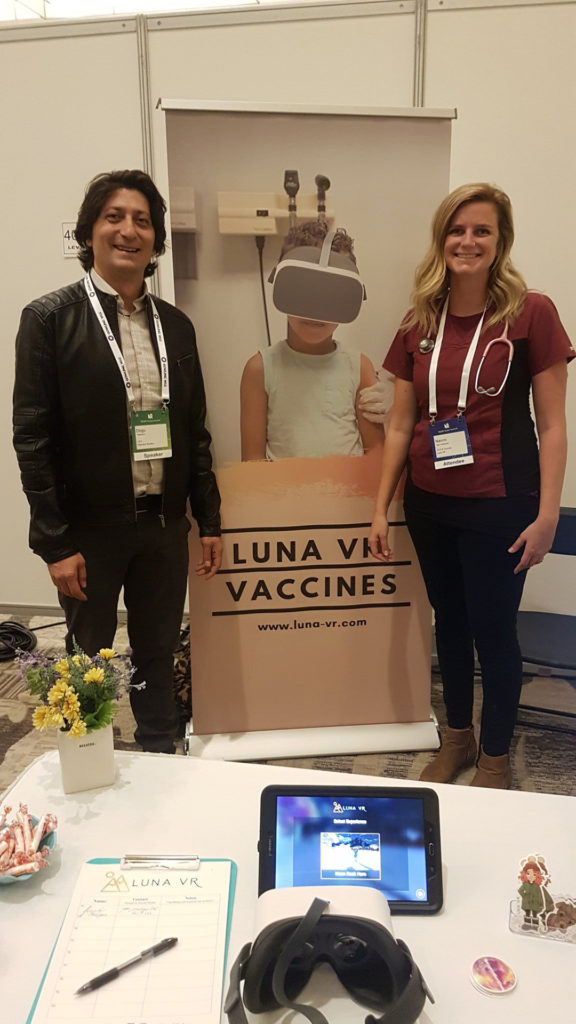 Stambol CEO Dogu Taskiran with Luna VR CEO Naomi Van Halteren at Luna VR booth