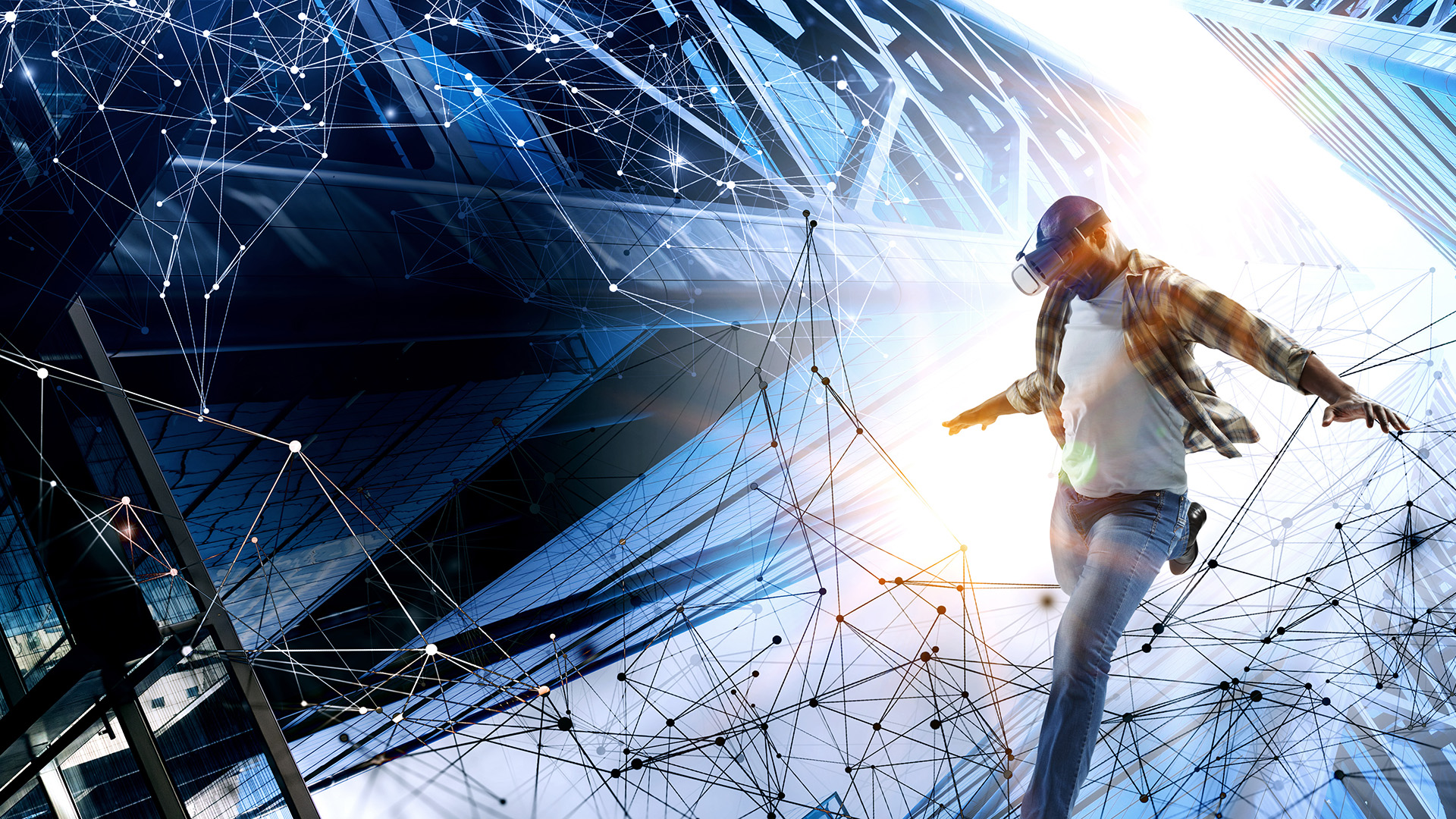 VR user kicking virtual ball into the bright future on futuristic background