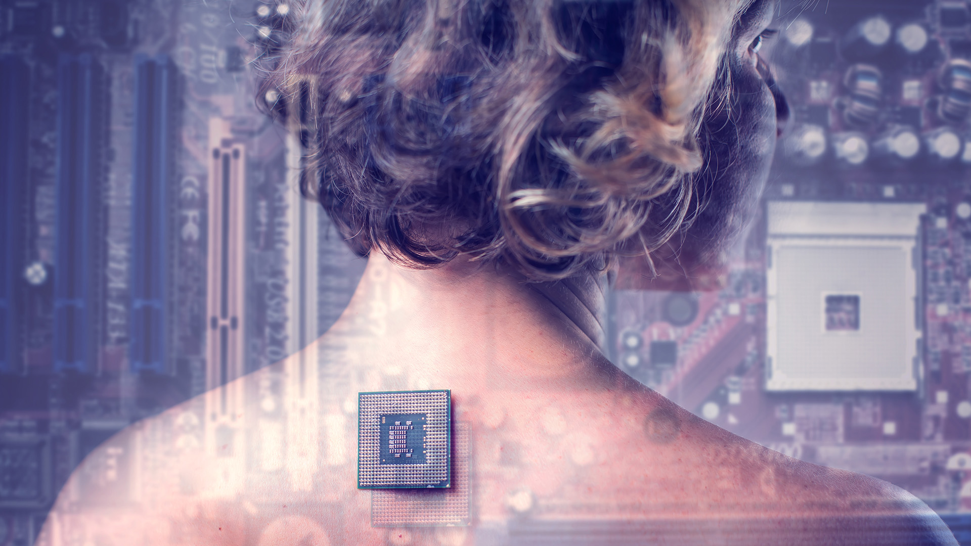 Bionic chip implant in female human body provides augmentation
