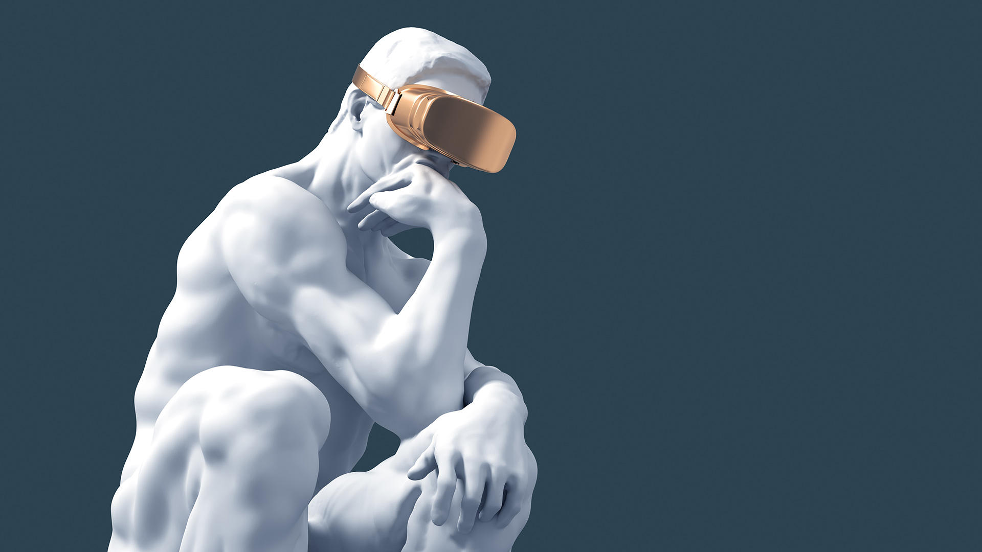 Sculpture Thinker With Golden VR Glasses for Experience Transformation
