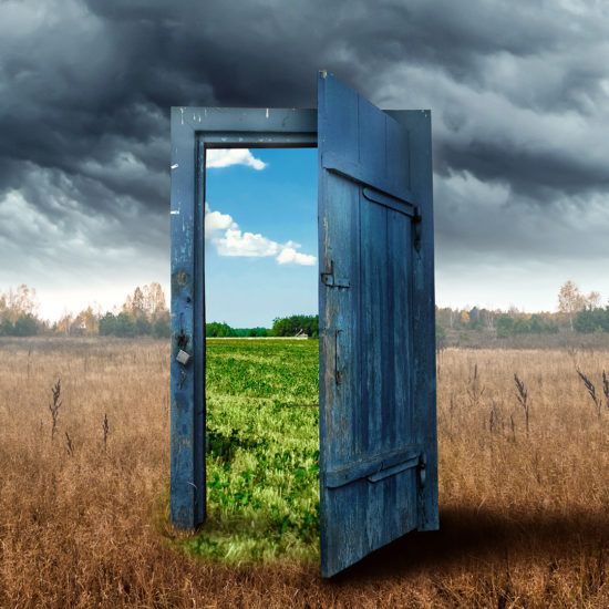 old wooden door portal shows a bright future to indicate the breakthrough value of business transformation
