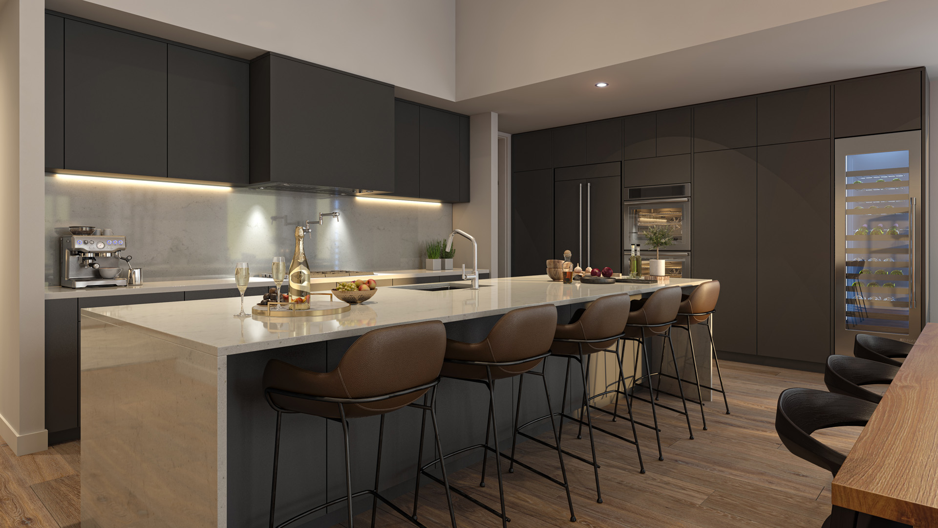 Kitchen Rendering from Pacific Point Unit B Penthouse in Dark Color Option