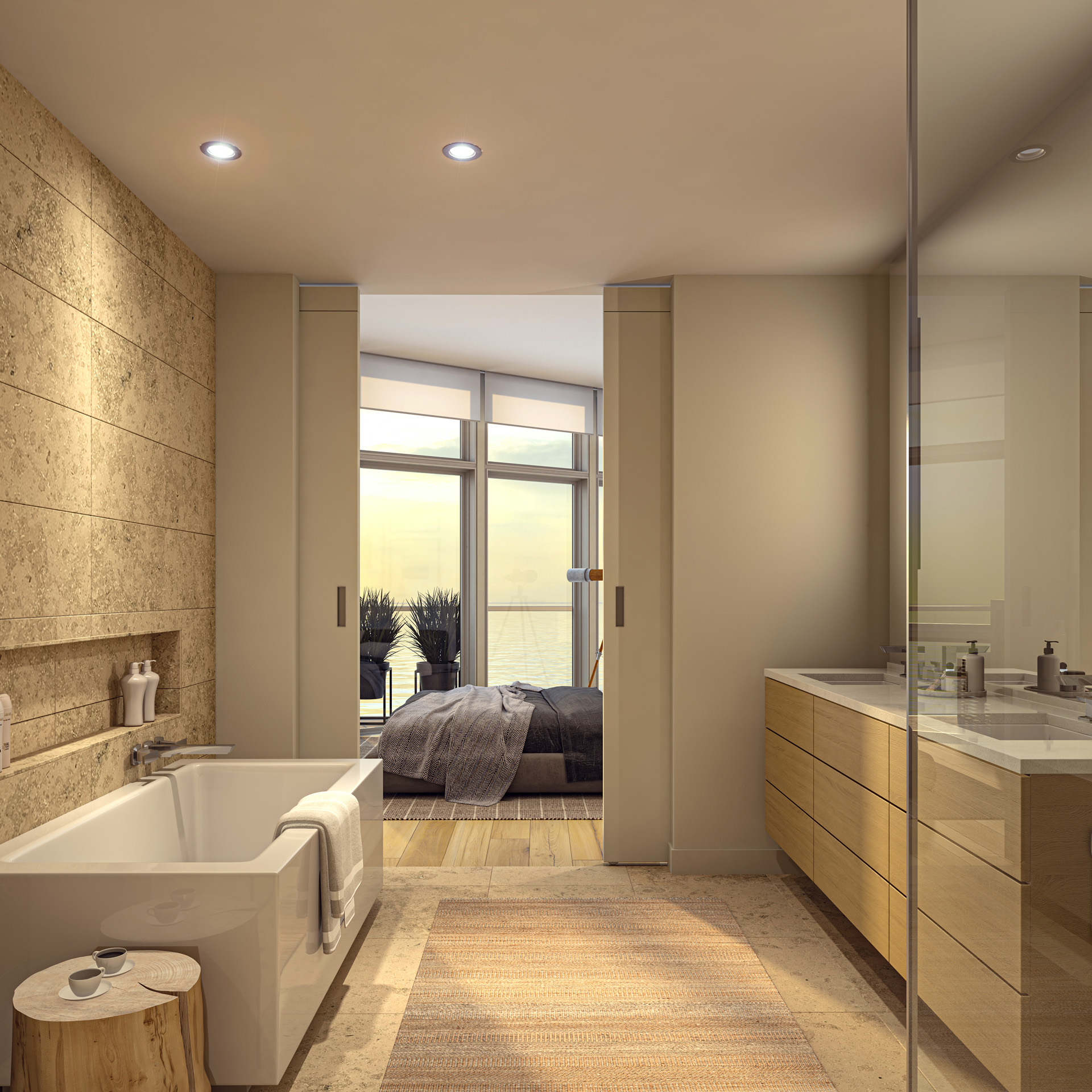 Ensuite Bathroom Rendering from Pacific Point Unit A Penthouse Light Color Option