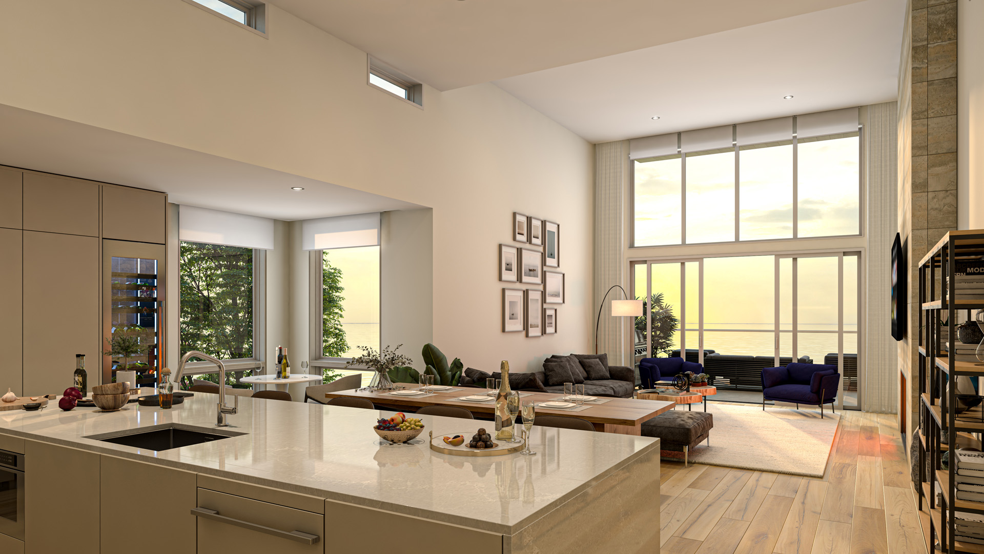 Living Room Rendering from Pacific Point Unit A Penthouse