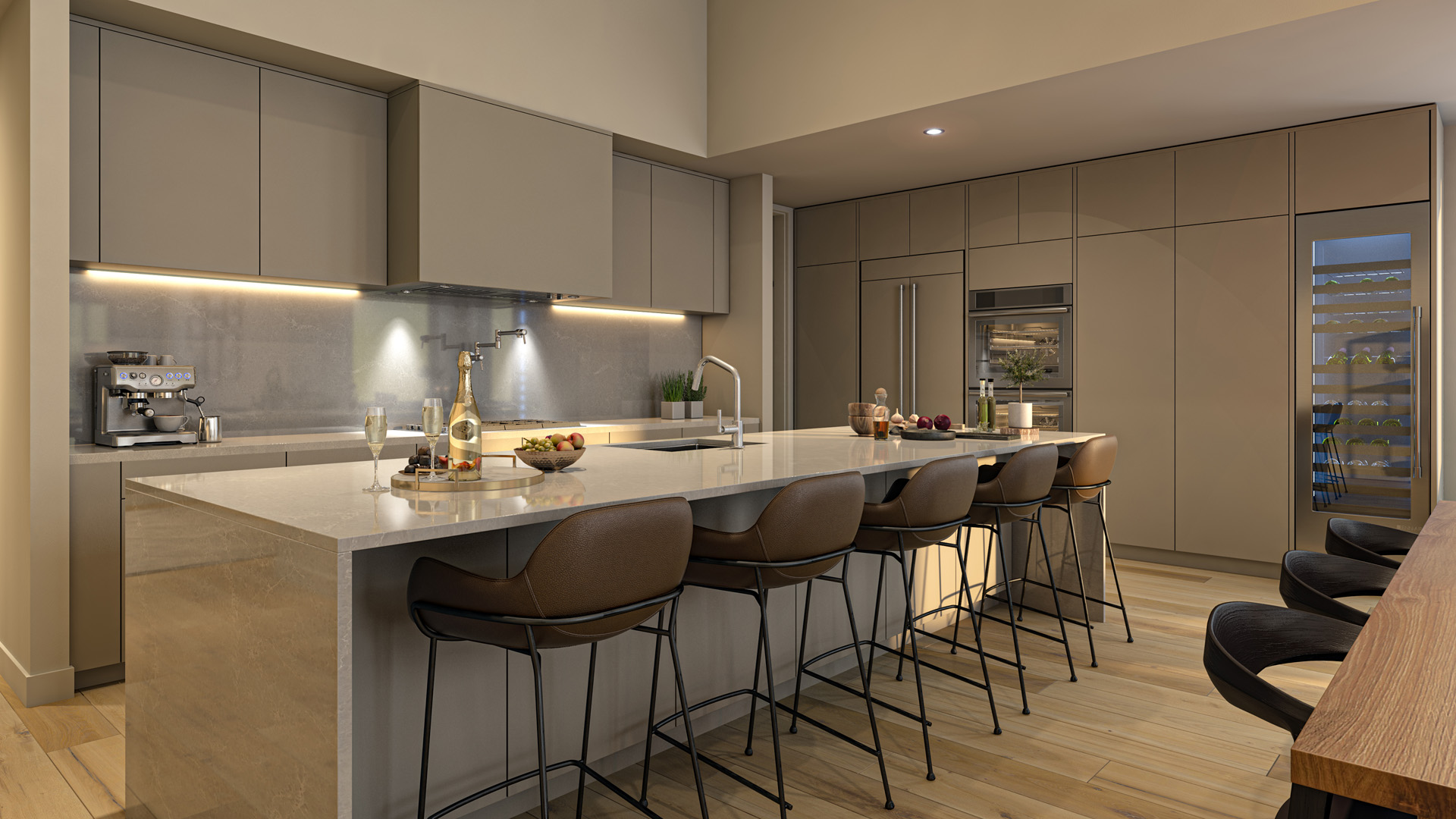 Kitchen Rendering from Pacific Point Unit A Penthouse