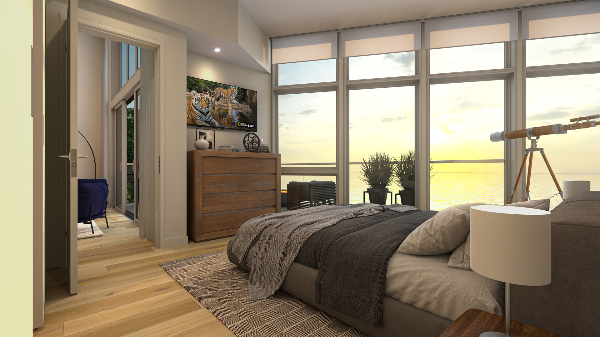 Bedroom Rendering from Pacific Point Unit A Penthouse
