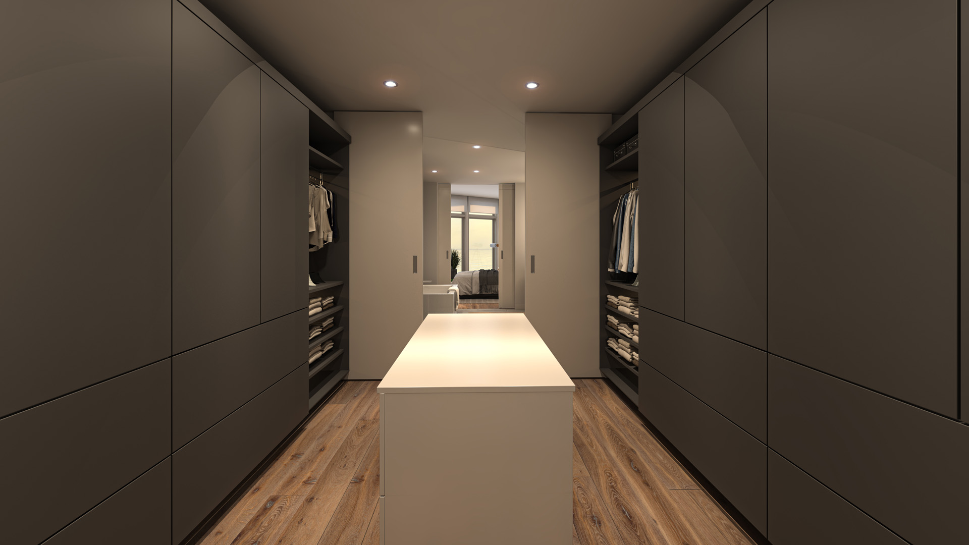 Walk-in Closet Rendering from Pacific Point Unit B Penthouse in Dark Color Option