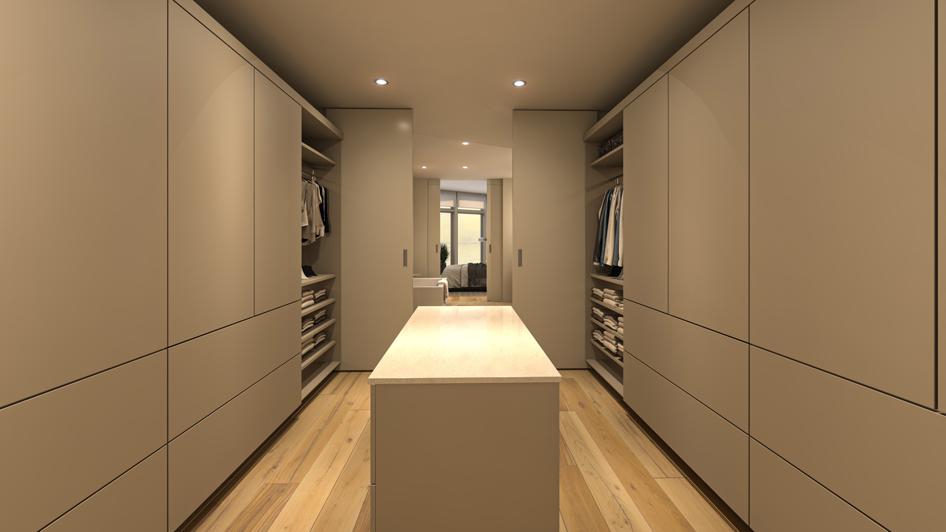Walk-in Closet Rendering from Pacific Point Unit B Penthouse