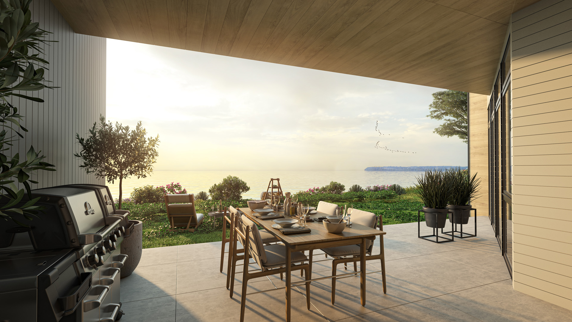 Patio Rendering from Pacific Point Unit C Ground Floor