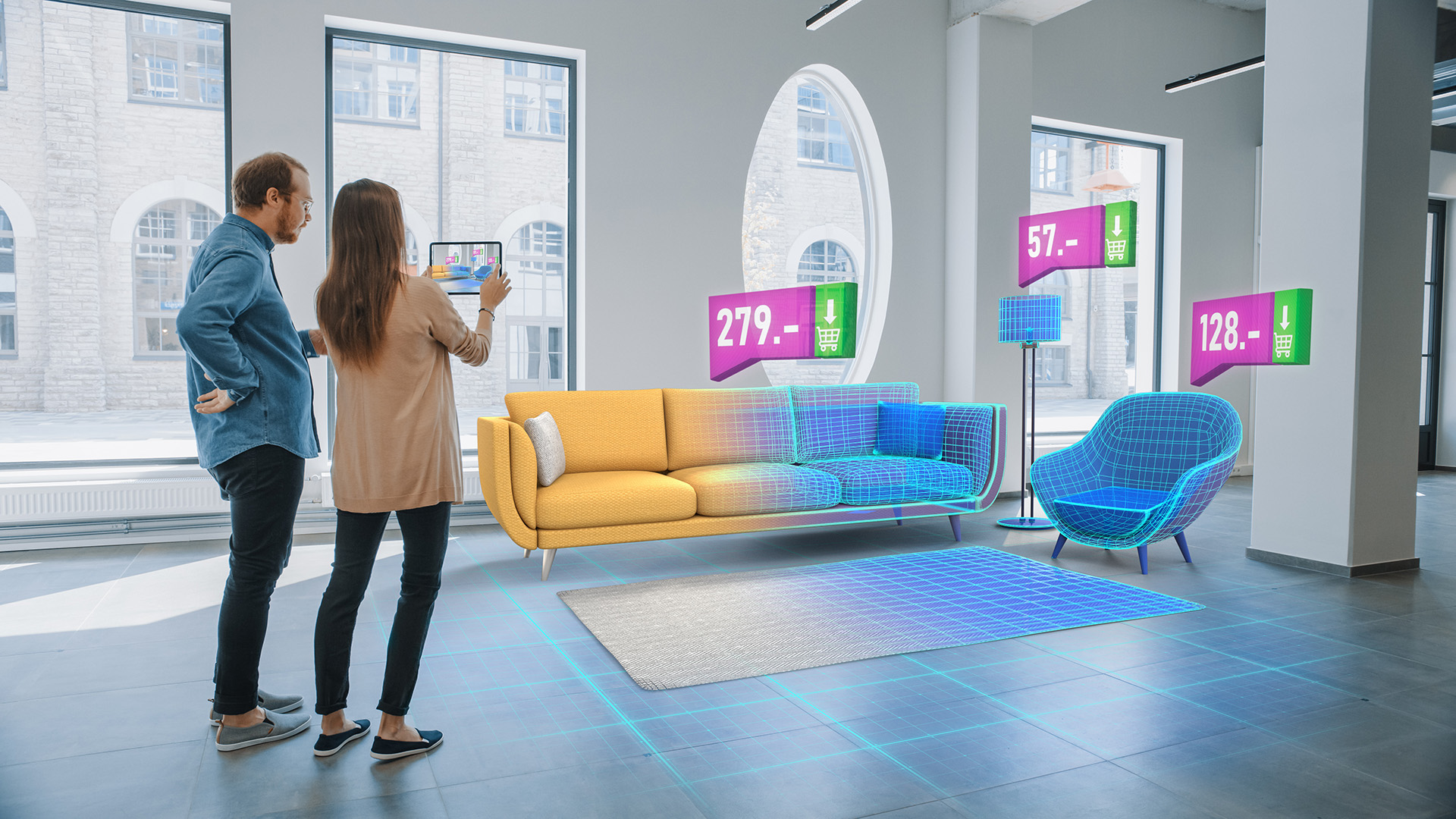 young couple using augmented reality shopping experience for furniture