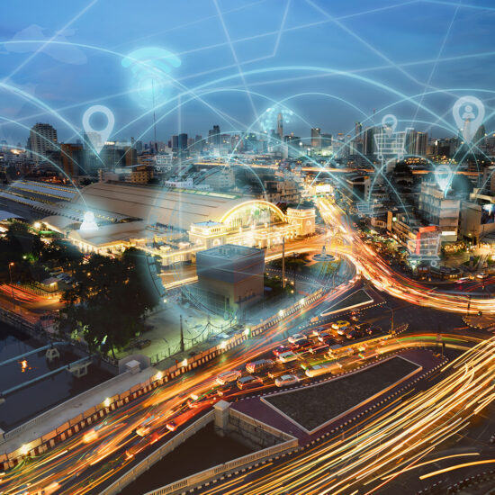 smart city with connected sensors visualizing data and connections through industrial ar