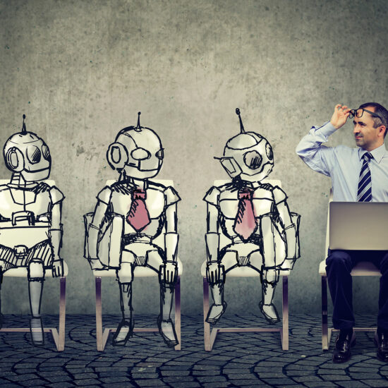 Business job applicant man competing with cartoon robots sitting in line for a job interview