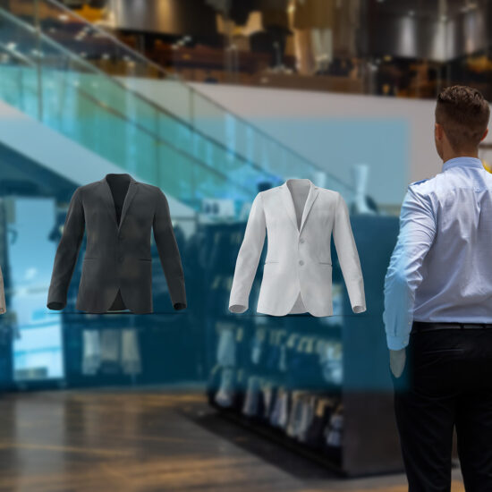 futuristic extended reality technology concept, happy man select jackets from a holographic display