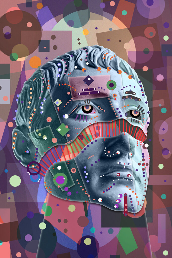 Collage with sculpture of human face in a pop art style. Modern creative concept image with ancient statue head. Zine culture. Contemporary art poster. Crypto art design. Funky punk minimalism.